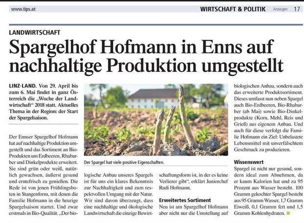 Pressemitteilung: Der Spargel sprießt!